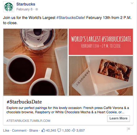 Facebook ad Starbucks